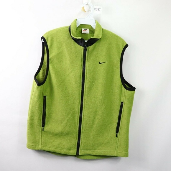 Nike Jackets & Blazers - Vintage Nike Full Zip Fleece Vest Jacket Green M